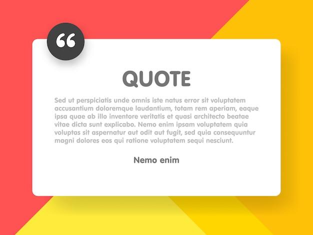 Rettangolo di citazione con modello di informazioni di testo di esempio