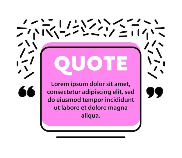 Bolla di discorso di citazione, modello di layout vuoto, cornice di casella di citazione