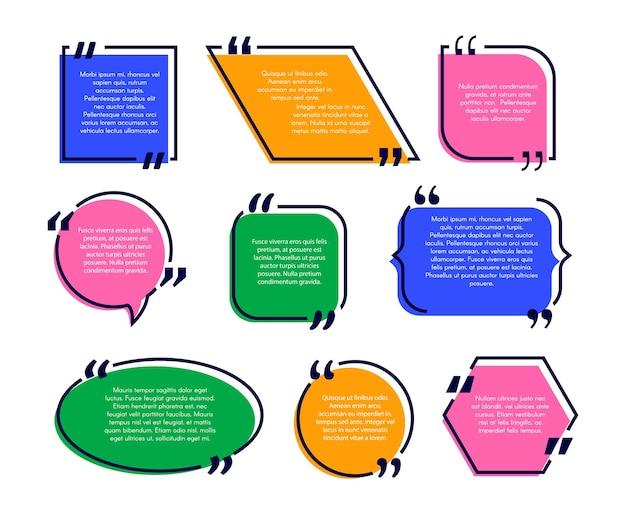 Citazione casella di testo citazione forma astratta rotonda ovale rettangolo casella di testo quadrata modello vettoriale discorso bu...