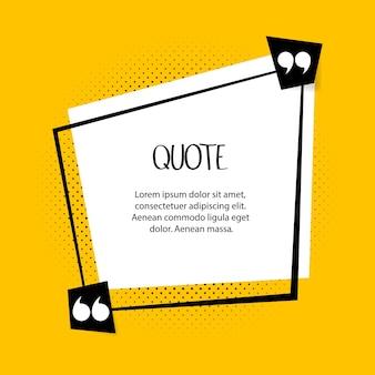 Citazione bolla di testo. virgole, note, messaggi e commenti su sfondo giallo. illustrazione.