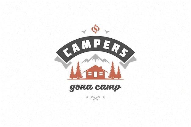 Quota tipografia con cabina da campeggio disegnata a mano nel simbolo della foresta per biglietto di auguri o poster e altro