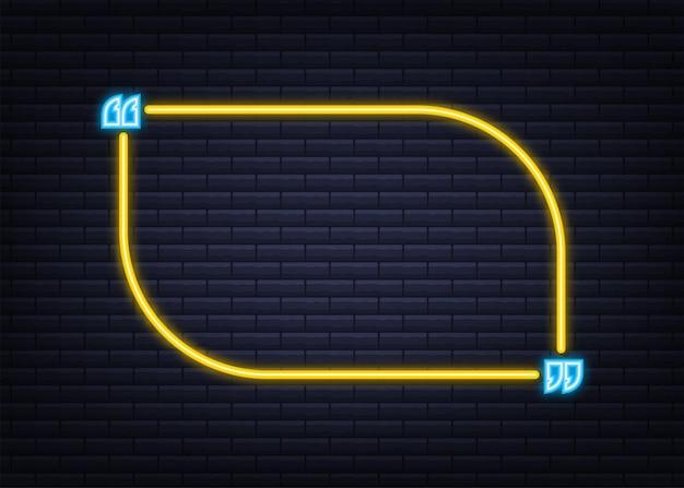 Citazione. scatola di citazione al neon di vettore, brillante su sfondo blu. illustrazione vettoriale.
