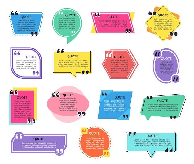 Cornice per citazioni con titolo di virgolette e set di vettori di testo