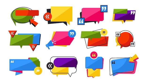 Set di cornici di citazioni. forme di citazione. forme grafiche colorate per note di testo, commenti, disegni di differenze di notizie. cita informazioni sulle notizie, discorso del messaggio