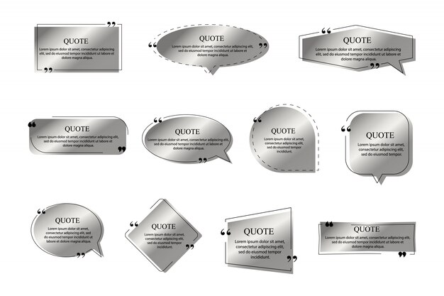 Citazioni cornici di colore argento su sfondo bianco. modello di casella di testo, citazione moderna citazione fumetto e social network citazioni finestre di dialogo.