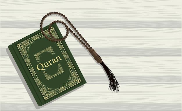 Corano su tavola di legno Vettore Premium
