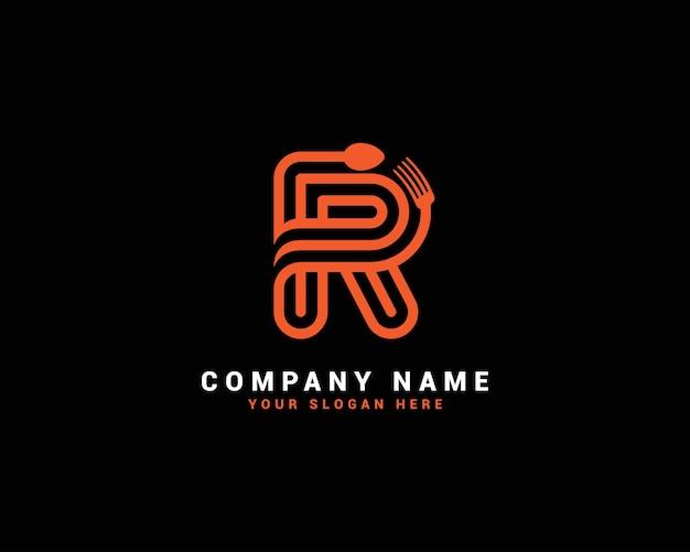 Logo della lettera dell'alimento r, logo della lettera del cucchiaio r, set del logo della lettera dell'alimento, alfabeto del cibo
