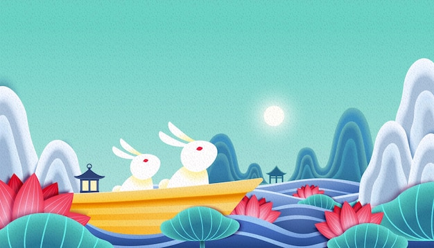 Coniglio che ammira la luna piena nel giardino del loto cinese, illustrazione del festival di metà autunno