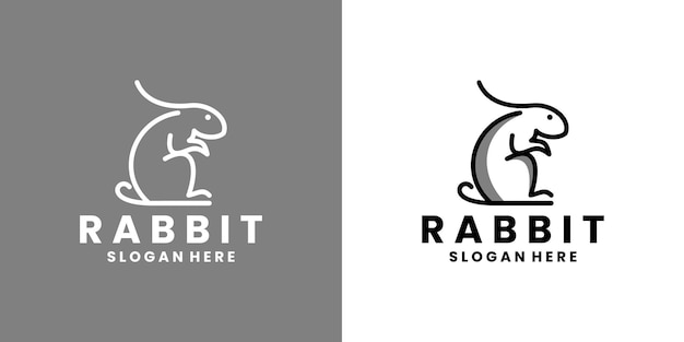 Design del logo animale del coniglio per la salute, l'assistenza alla comunità e il negozio