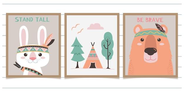 Scuola materna di arte della parete del coniglio e dell'orso