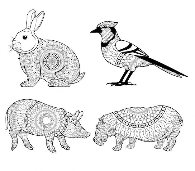 Icona di maiale e ippopotamo dell'uccello di coniglio