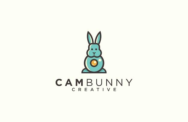 Coniglio e fotocamera logo design vettoriale