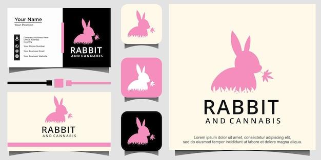 Design del logo di coniglio e cannabis