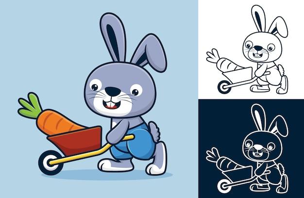Coniglio che trasporta carota grande con carriola. illustrazione di cartone animato in stile icona piatta