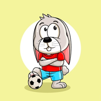 Fumetto del coniglio che gioca illustrazione di calcio