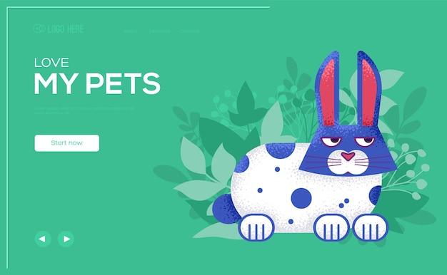 Volantino del concetto di coniglio, banner web, intestazione dell'interfaccia utente, entra nel sito ..
