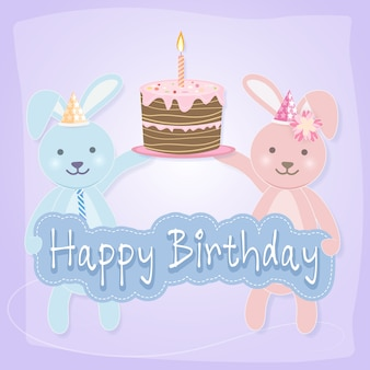 Coppia di conigli con torta per biglietto di auguri di buon compleanno