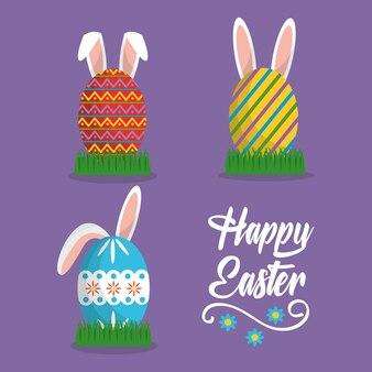 Le orecchie di coniglio hanno dipinto le uova carta di pasqua felice