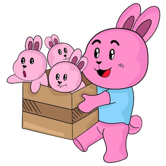 Famiglia di bambini di coniglio con la madre. illustrazione vettoriale cartone animato