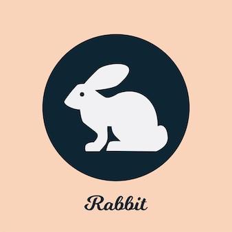 Disegno dell'icona piatto coniglio, elemento simbolo logo