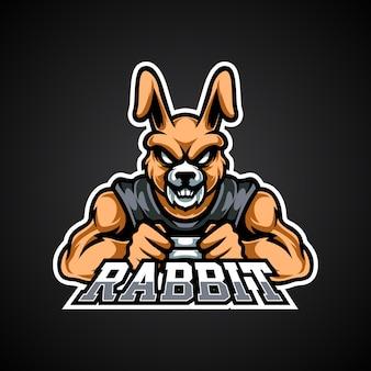 Logo della mascotte di coniglio gamer e sport