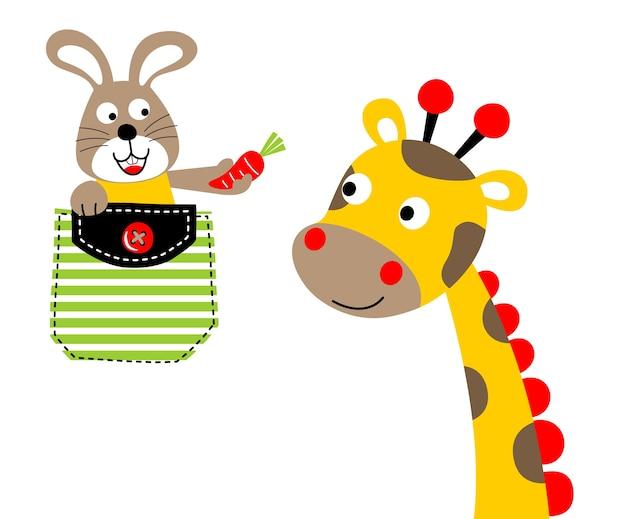 Coniglio e giraffa vettore di cartone animato