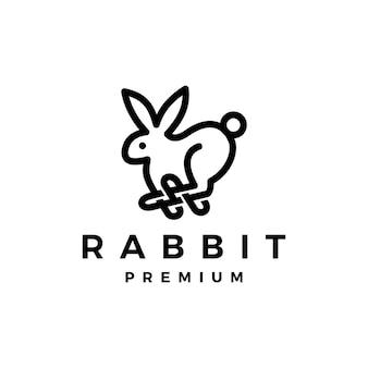 Coniglio lepre muta monoline icona logo illustrazione