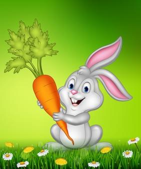 Coniglio che tiene la carota