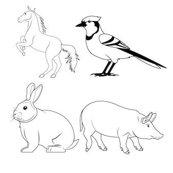 Icona del coniglio e dell'uccello del cavallo di coniglio