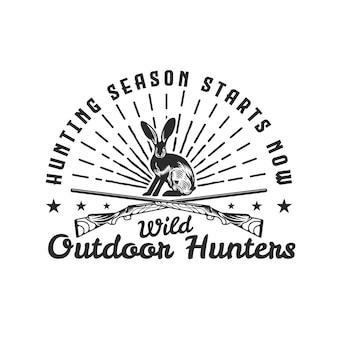 Distintivo dell'emblema selvatico di caccia del coniglio