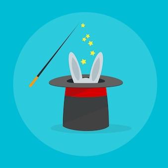 Coniglio in uno stile di design piatto cappello magico
