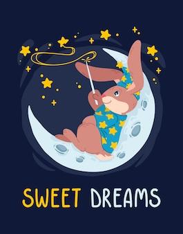 Il mago del coniglio con la bacchetta magica fa le stelle sul cielo sdraiato sulla luna. mago coniglietto con cappello da strega