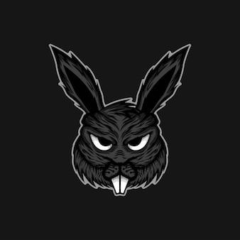 Illustrazione del logo della mascotte del coniglio.
