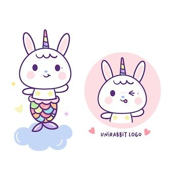 Sirena di coniglio nel vettore di unicorno carino