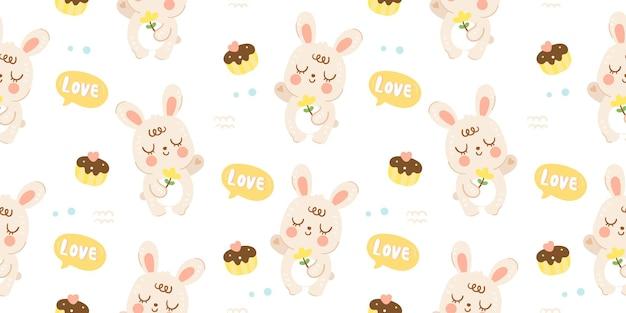 Modello di coniglio simpatico coniglietto senza cuciture con cupcake kawaii animale illustrazione