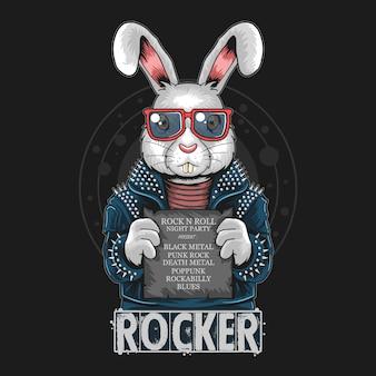 Coniglio rock n roll opere bunny