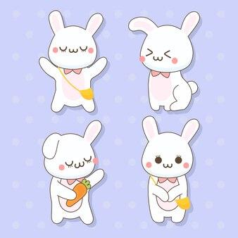 Coniglio - set di simpatici animali kawaii charactor illustrazione