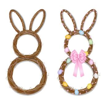 Corona di pasqua a forma di coniglio. ghirlanda vuota e corona decorata con rami, fiori di ciliegio e illustrazione di uova