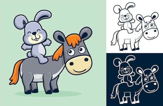 Coniglio seduto sulla schiena dell'asino. illustrazione di cartone animato in stile icona piatta