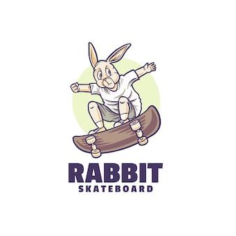Logo di salto dello skateboard del coniglio Vettore Premium