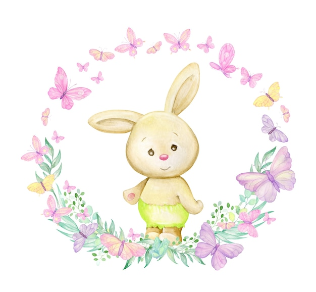 Un coniglio sta circondato da farfalle e piante. cornice dell'acquerello di forma rotonda su sfondo isolato, in stile cartone animato.