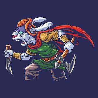Rabbit warrior esport logo illustrazione