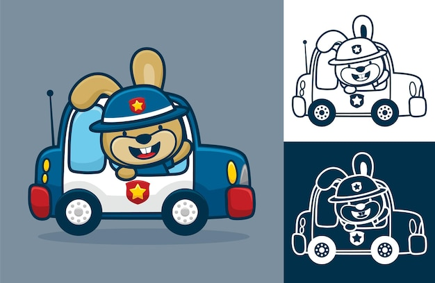 Coniglio che indossa il cappello da poliziotto sulla macchina della polizia. illustrazione del fumetto in stile icona piatta
