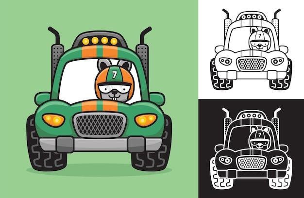 Coniglio che indossa il casco da corsa su un'auto da corsa. illustrazione del fumetto di vettore nello stile dell'icona piana
