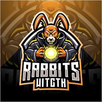 Logo della mascotte di coniglio strega esport