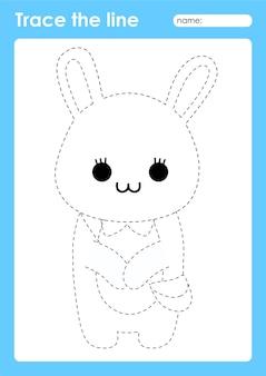 Coniglio con borsa - tracciare linee foglio di lavoro prescolare per bambini per praticare abilità motorie fini