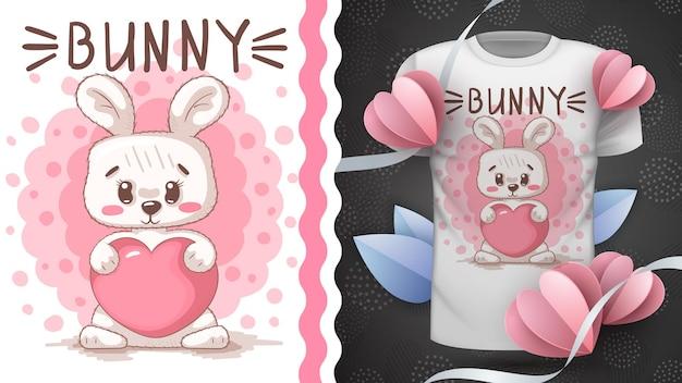 Coniglio con cuore - animale personaggio dei cartoni animati infantili