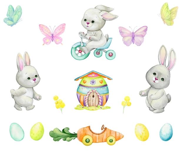 Conigli, bicicletta, uova di pasqua, farfalle, casa, auto, pianta insieme di elementi dell'acquerello, in stile cartone animato, su uno sfondo isolato, per le vacanze, pasqua.