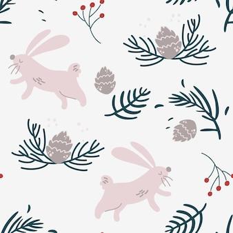 Modello senza cuciture di conigli, rami di abete e coni. priorità bassa della foresta di inverno. bellissimo natale senza cuciture, motivo ripetuto. scrapbooking, carta, tessuto. illustrazione del fumetto di tiraggio della mano di vettore.