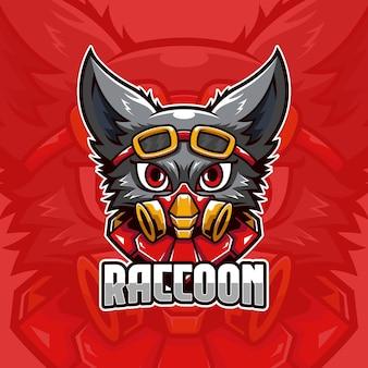 Modello di logo di raccoon pilot e-sports